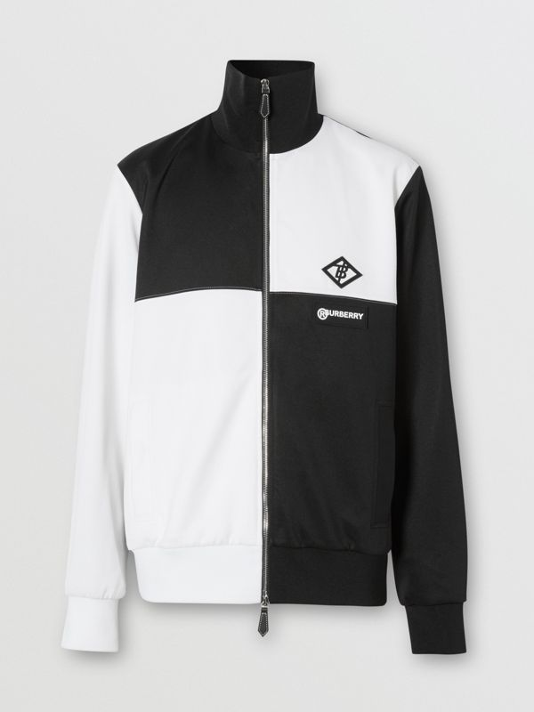 Logo Graphic Two-tone Jersey Track Top in Black - Men | Burberry - cell image 3