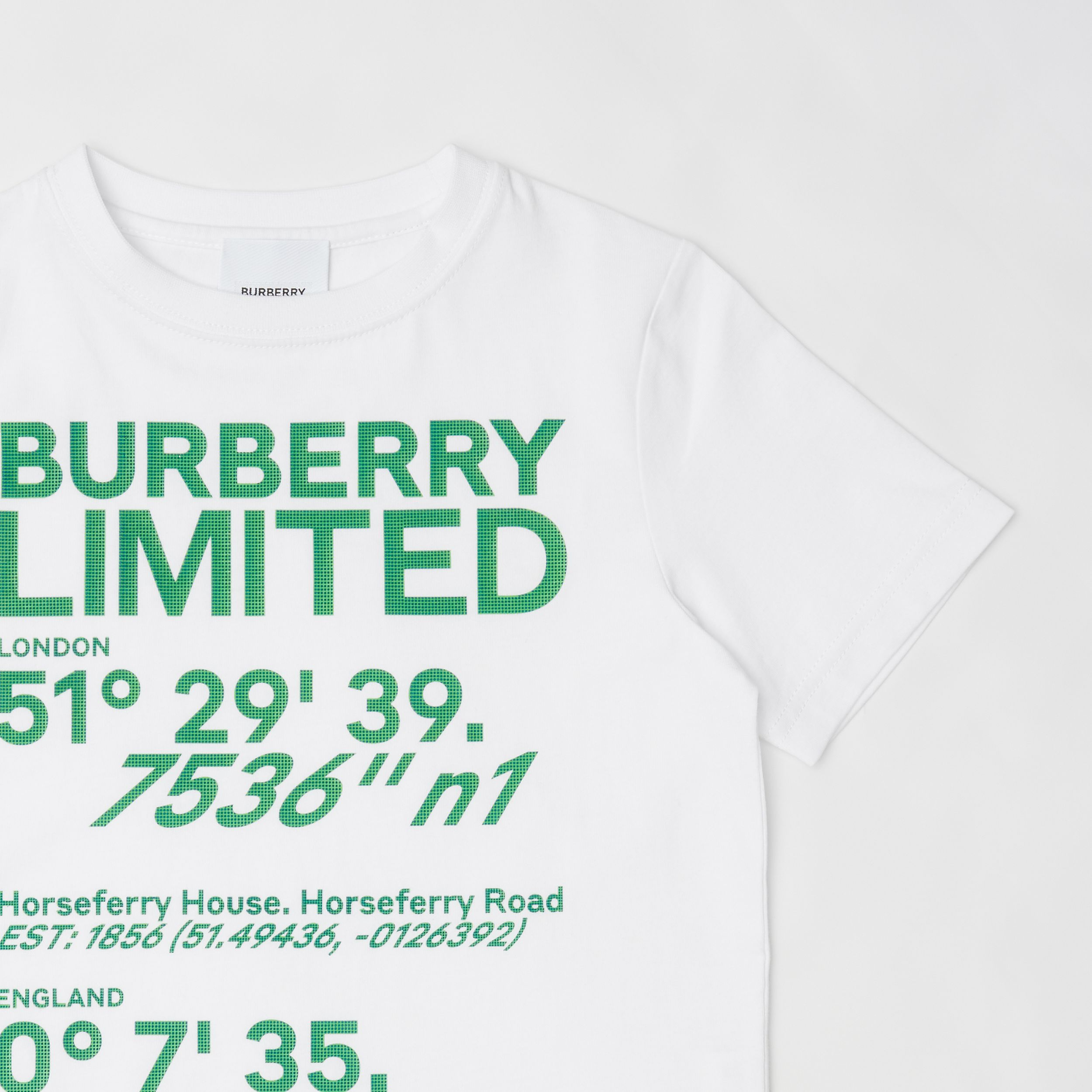 Coordinates Print Cotton T-shirt in White | Burberry United Kingdom - 4