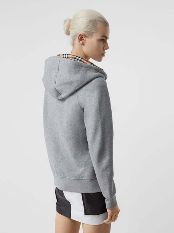 Vintage Check Detail Jersey Hooded Top in Pale Grey Melange - Women | Burberry - cell image 2