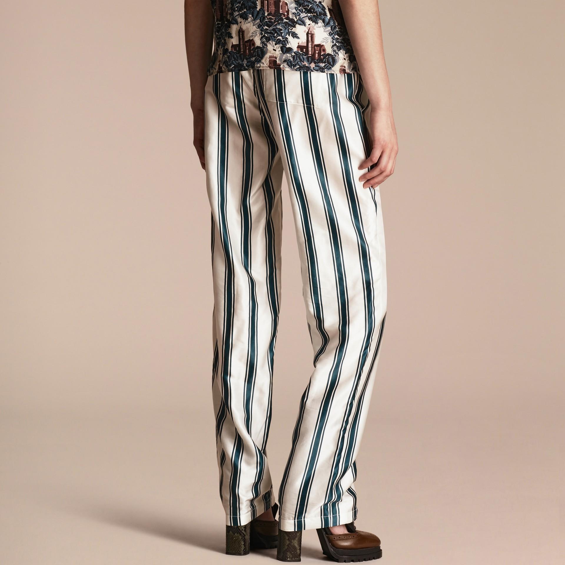 Panama Stripe Cotton Silk Pyjama-style Trousers - gallery image 3