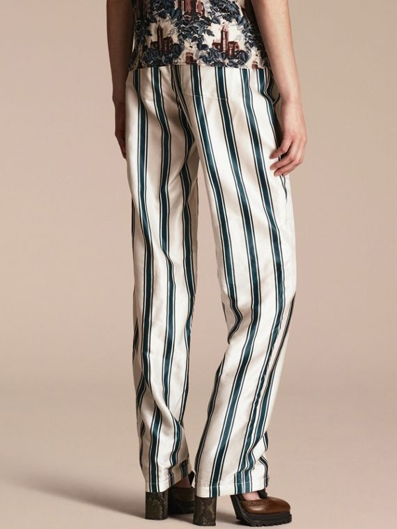 Dark forest green Panama Stripe Cotton Silk Pyjama-style Trousers - cell image 2