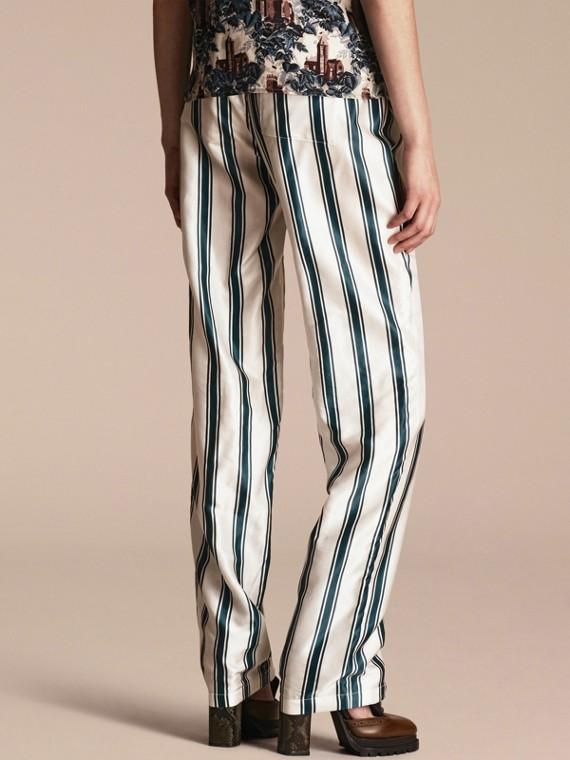 Hose im Pyjamastil aus Baumwollseide mit Panamastreifen - cell image 2