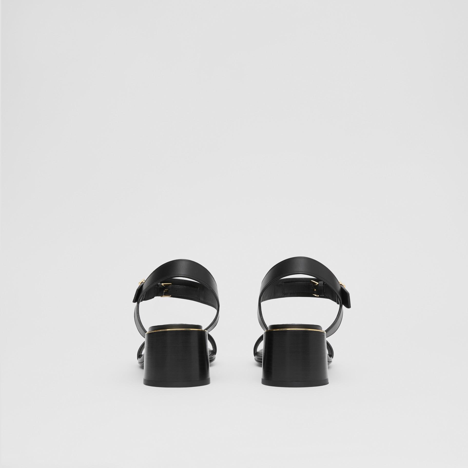 Monogram Motif Leather Block-heel Sandals in Black - Women | Burberry - gallery image 4