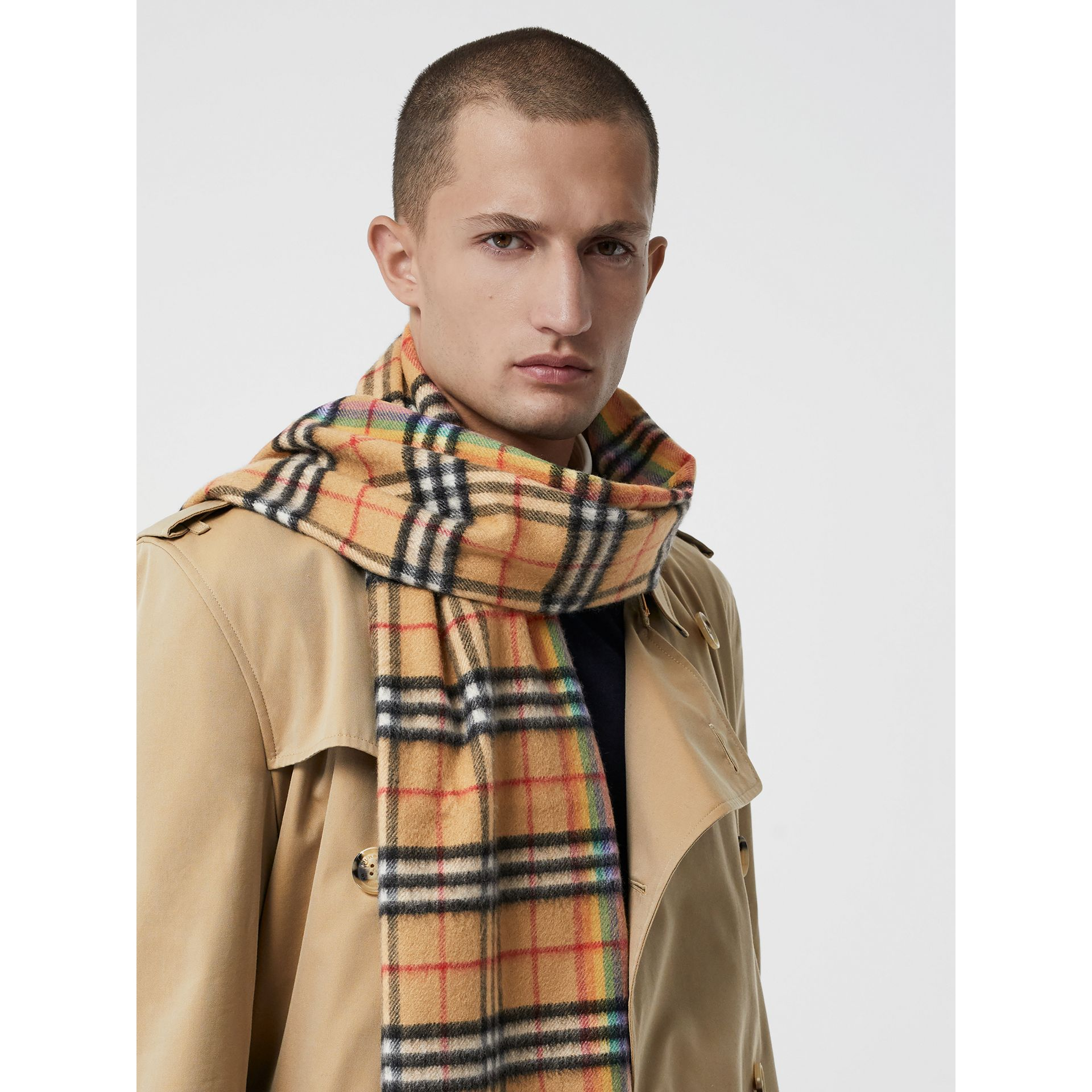 The Classic Rainbow Vintage Check Cashmere Scarf in Antique Yellow | Burberry United Kingdom - gallery image 7