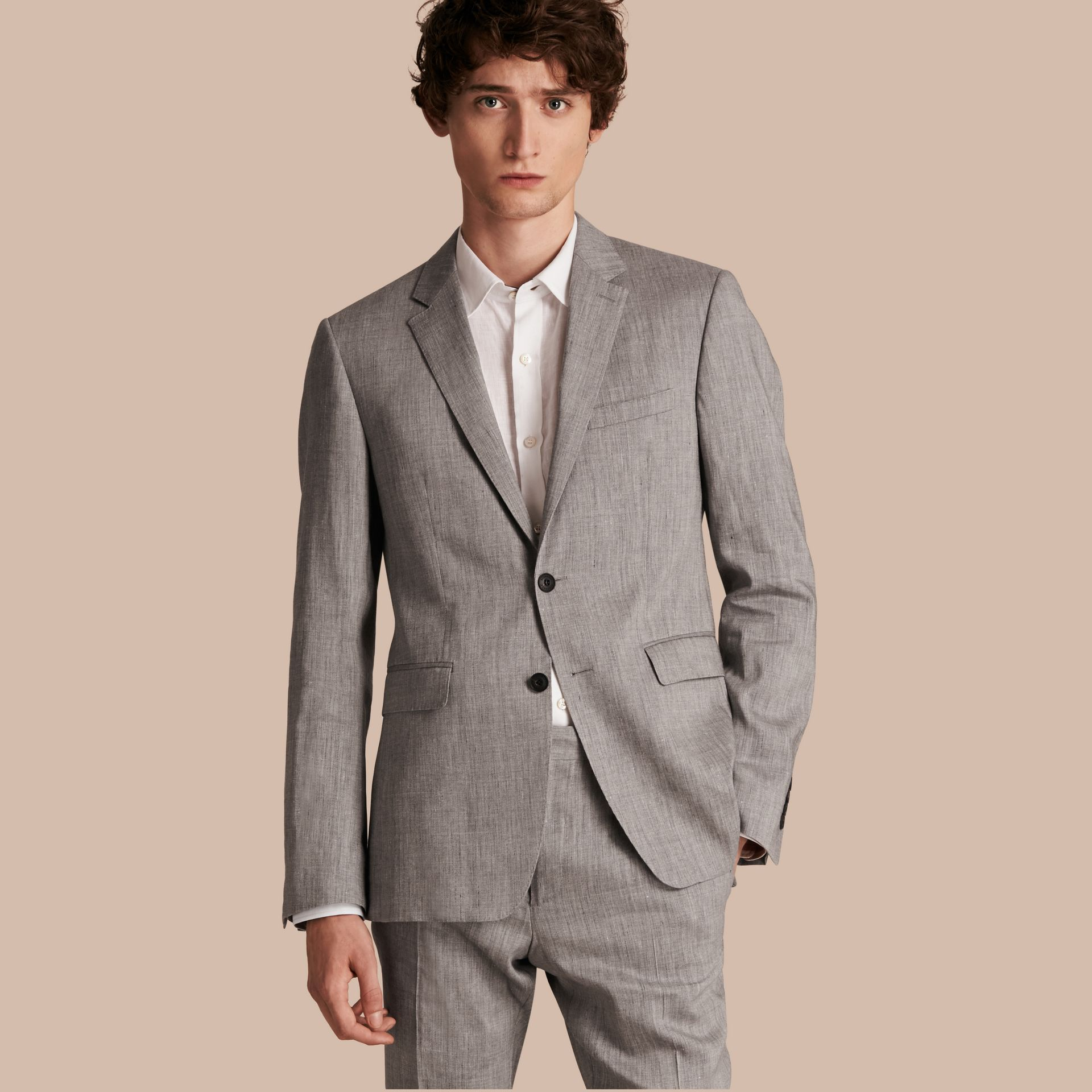 Slim Fit Travel Tailoring Linen Wool Blend Suit - Men | Burberry - gallery image 1