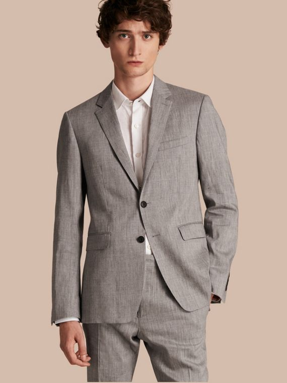 Slim Fit Travel Tailoring Linen Wool Blend Suit - Men | Burberry