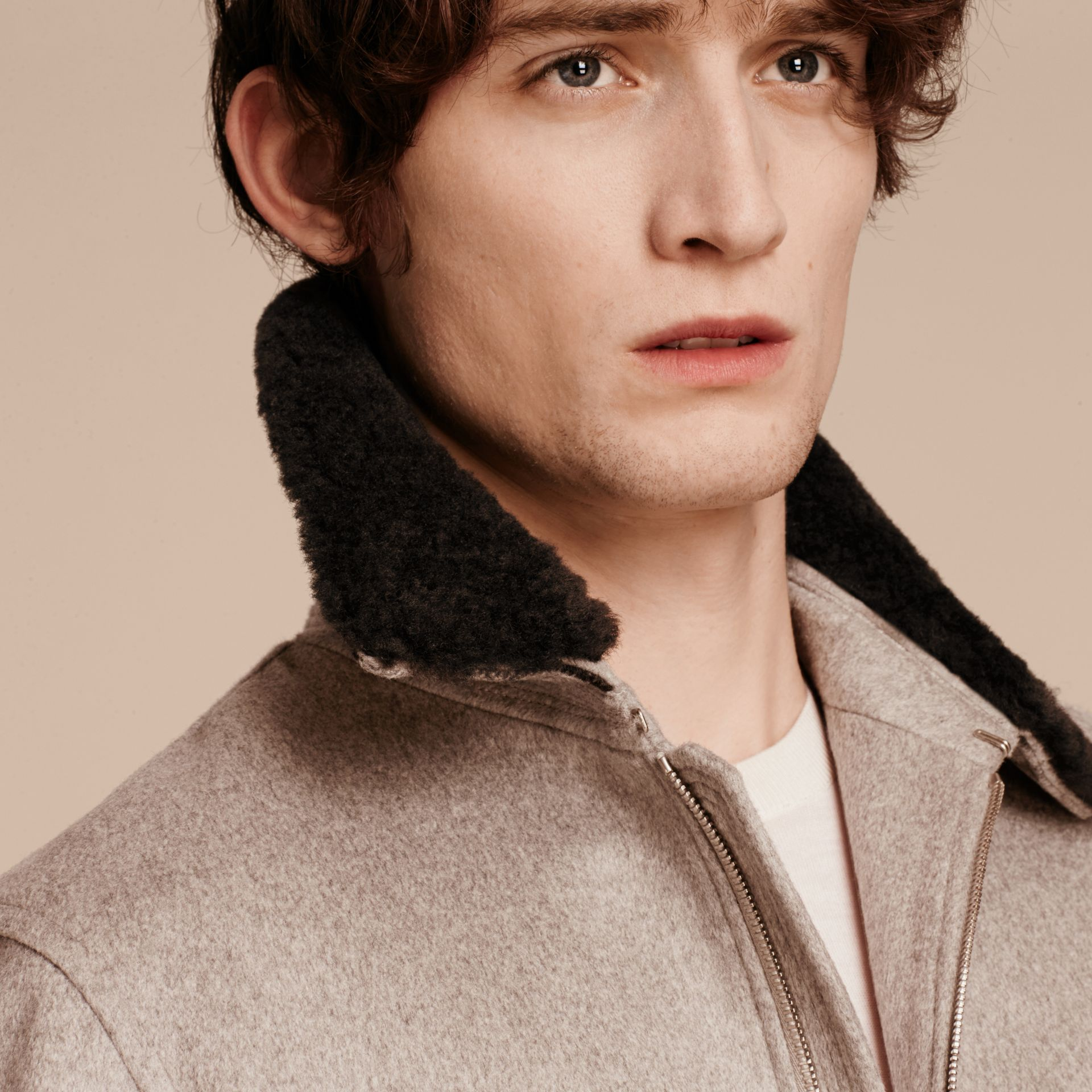 Pale grey melange Cashmere Jacket with Detachable Shearling Collar - gallery image 5