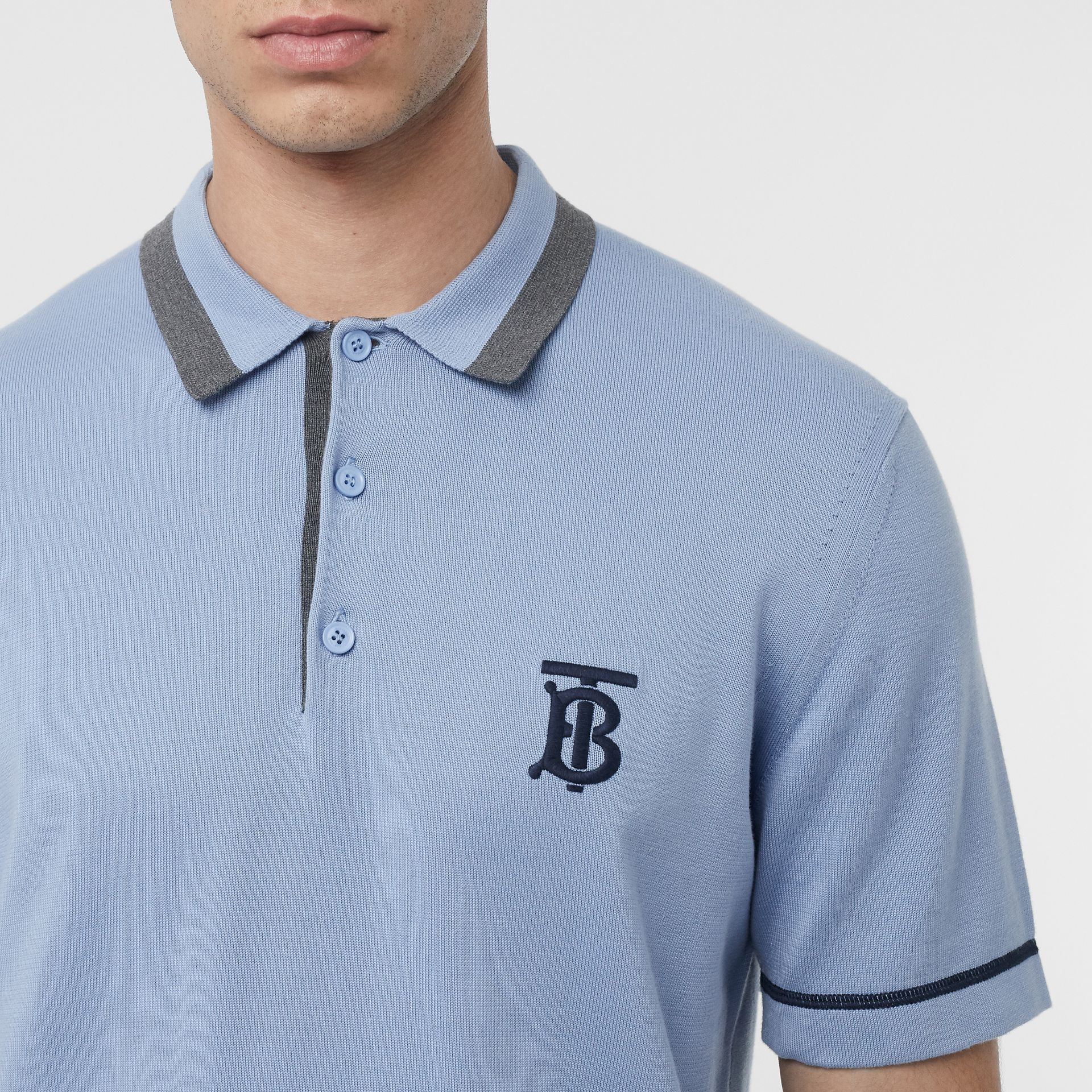 Monogram Motif Tipped Cotton Polo Shirt in Baby Blue - Men | Burberry Australia - gallery image 1