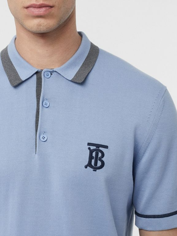 Monogram Motif Tipped Cotton Polo Shirt in Baby Blue - Men | Burberry - cell image 1