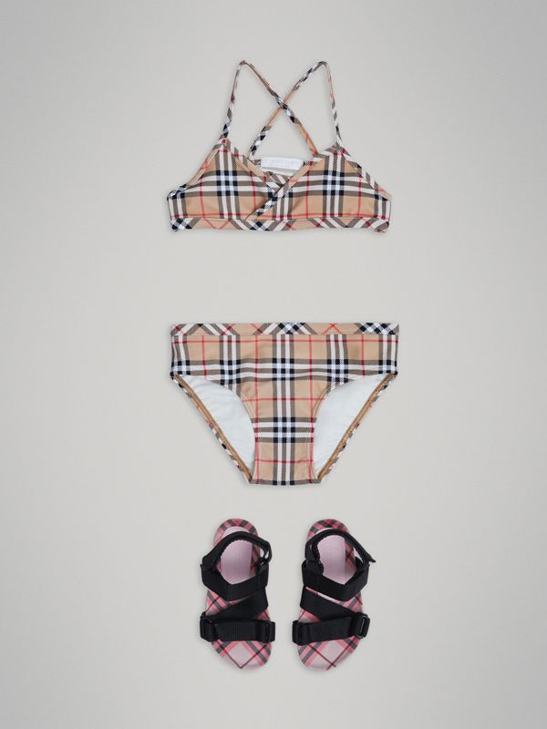 Vintage Check Bikini in Camel - Girl | Burberry - cell image 2