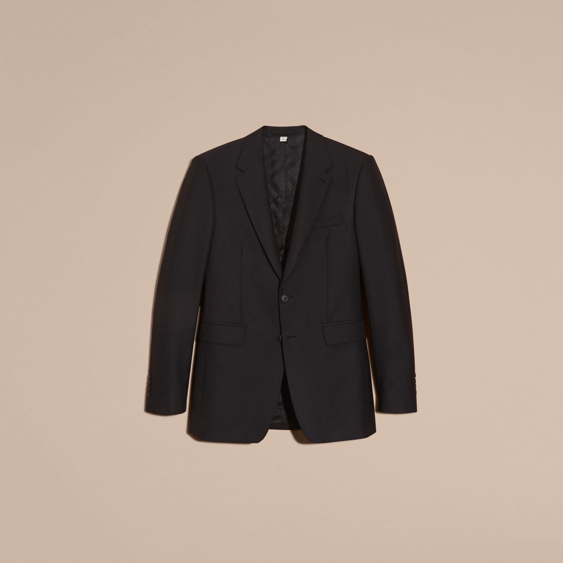 Black Modern Fit Wool Part-canvas Suit Black - gallery image 4