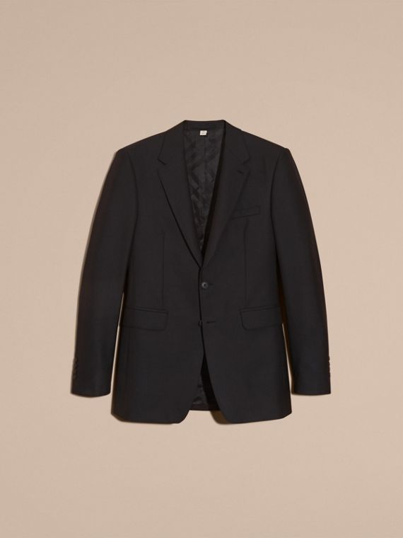 Black Modern Fit Wool Part-canvas Suit Black - cell image 3