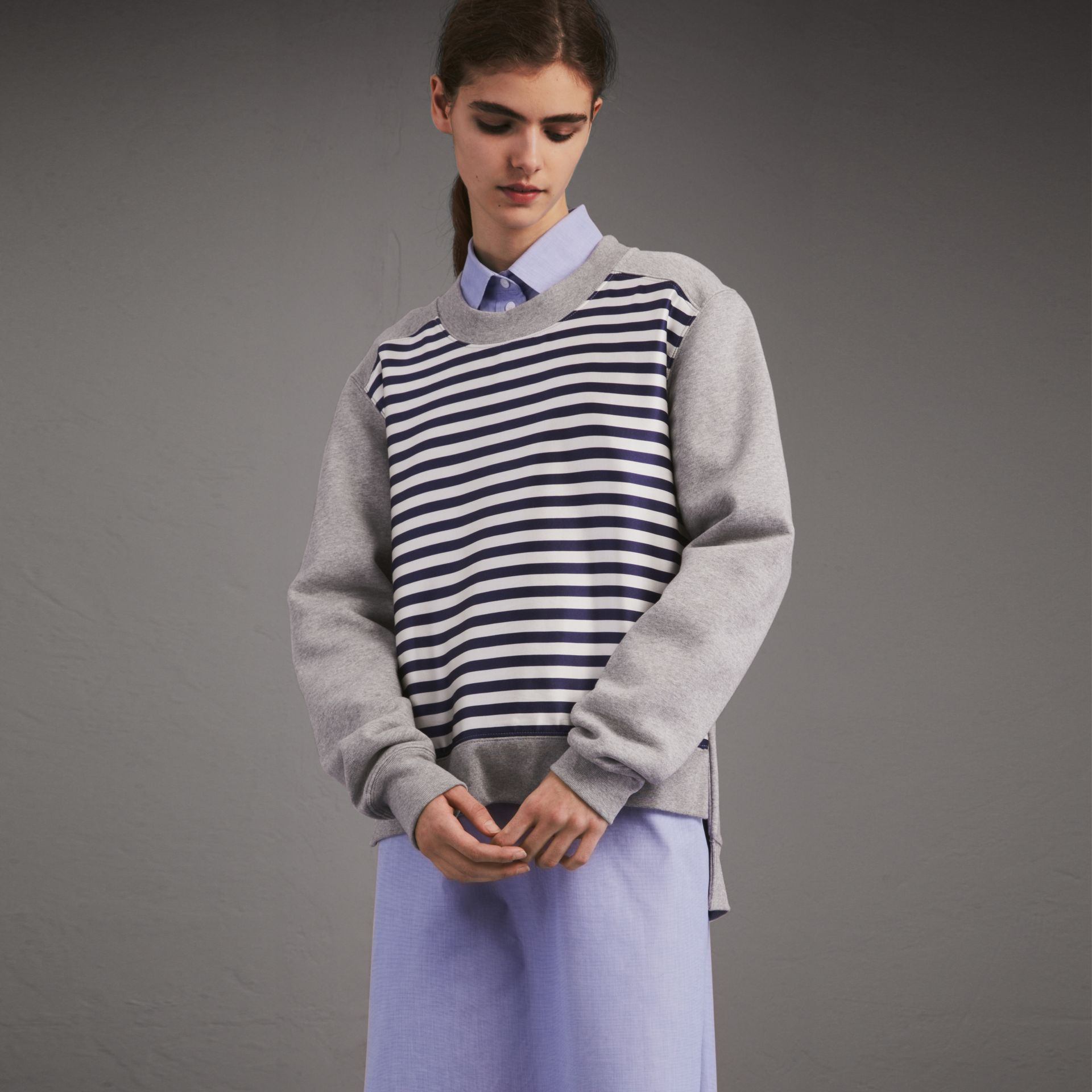Unisex Striped Silk Cotton Panel Sweatshirt - Women | Burberry - gallery image 1