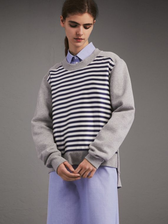 Unisex Striped Silk Cotton Panel Sweatshirt - Women | Burberry Singapore