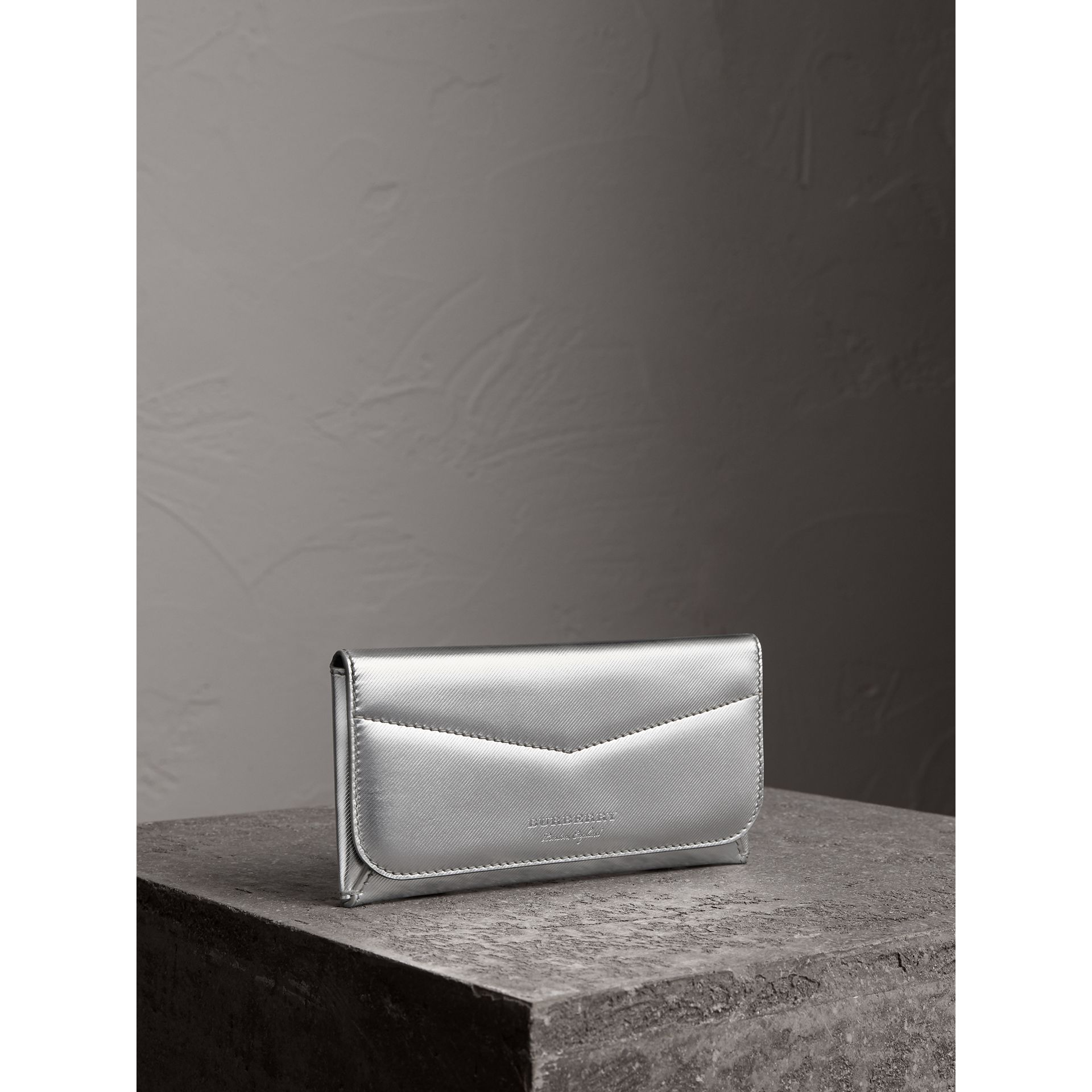 Metallic Trench Leather Envelope Wallet in Silver - Women | Burberry - gallery image 0