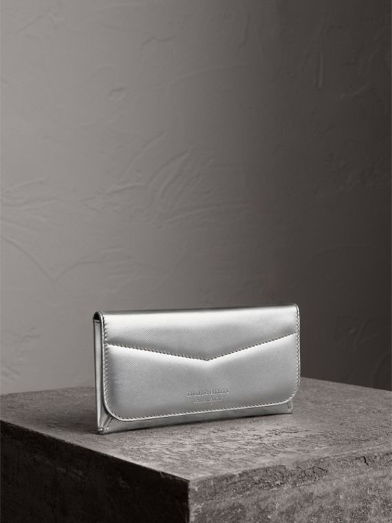 Metallic Trench Leather Envelope Wallet in Silver