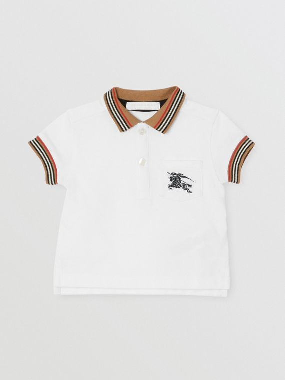 Stripe Detail Cotton Polo Shirt in White