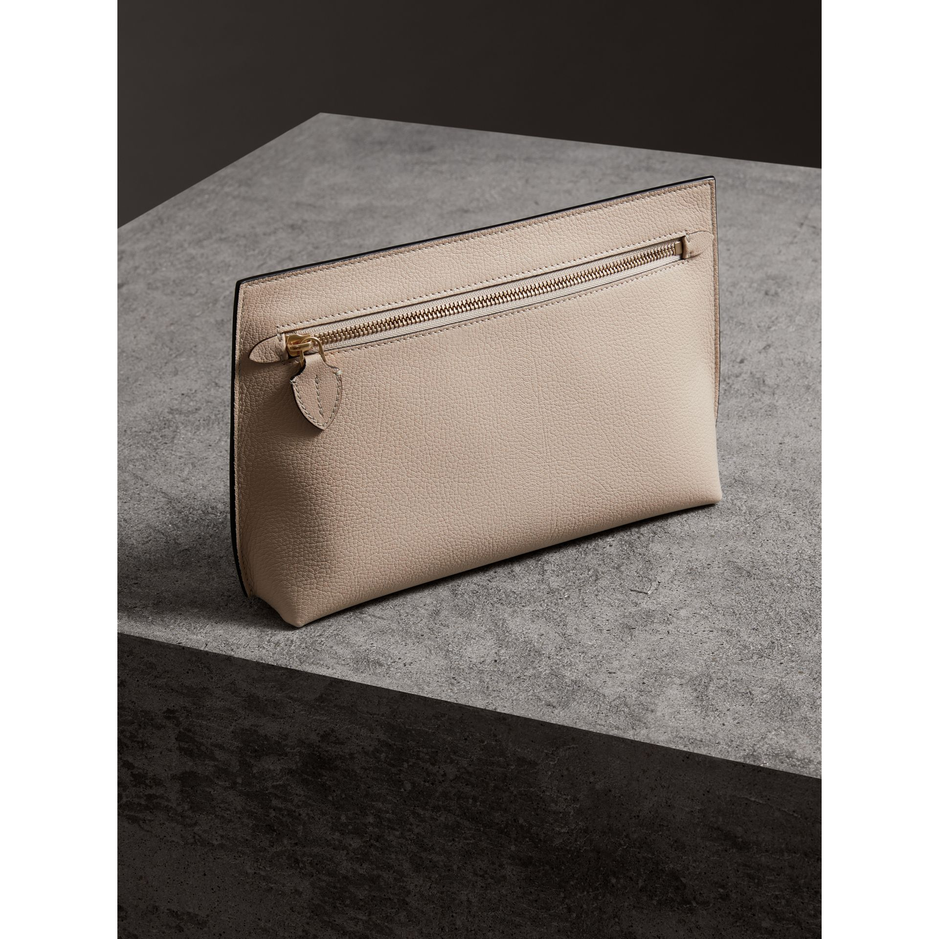 Grainy Leather Wristlet Clutch in Stone - Women | Burberry United Kingdom - gallery image 5