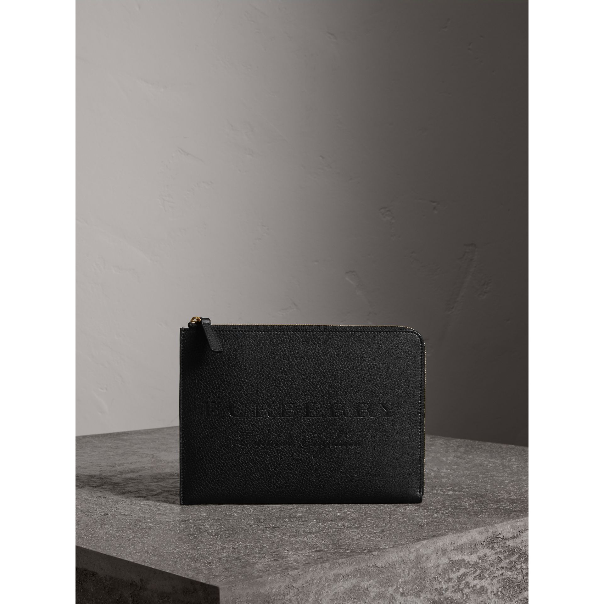 Embossed Leather Ziparound Pouch and Coin Case in Black | Burberry - gallery image 1