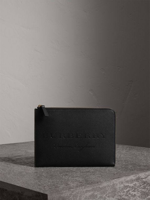 Embossed Leather Ziparound Pouch and Coin Case in Black