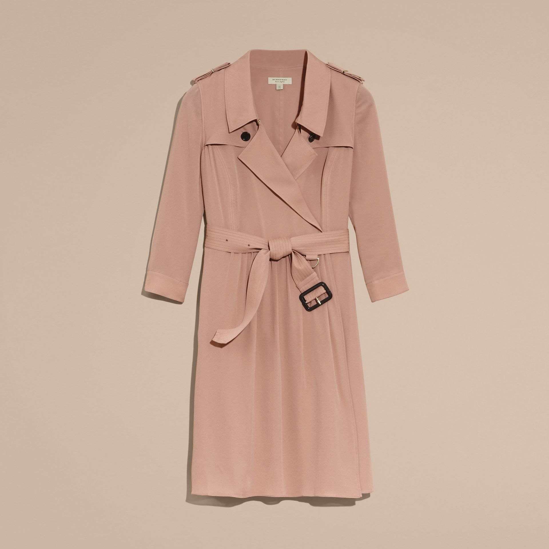 Silk Trench Dress in Nude - gallery image 4