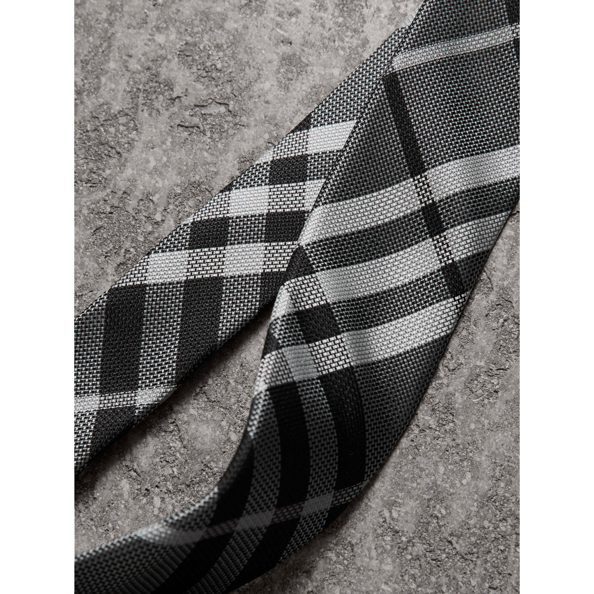Modern Cut Check Silk Tie in Mineral Grey - Men | Burberry United Kingdom - gallery image 1