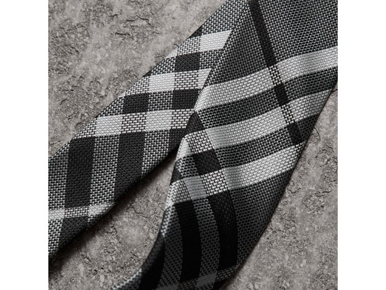 Modern Cut Check Silk Tie in Mineral Grey - Men | Burberry United States - cell image 1