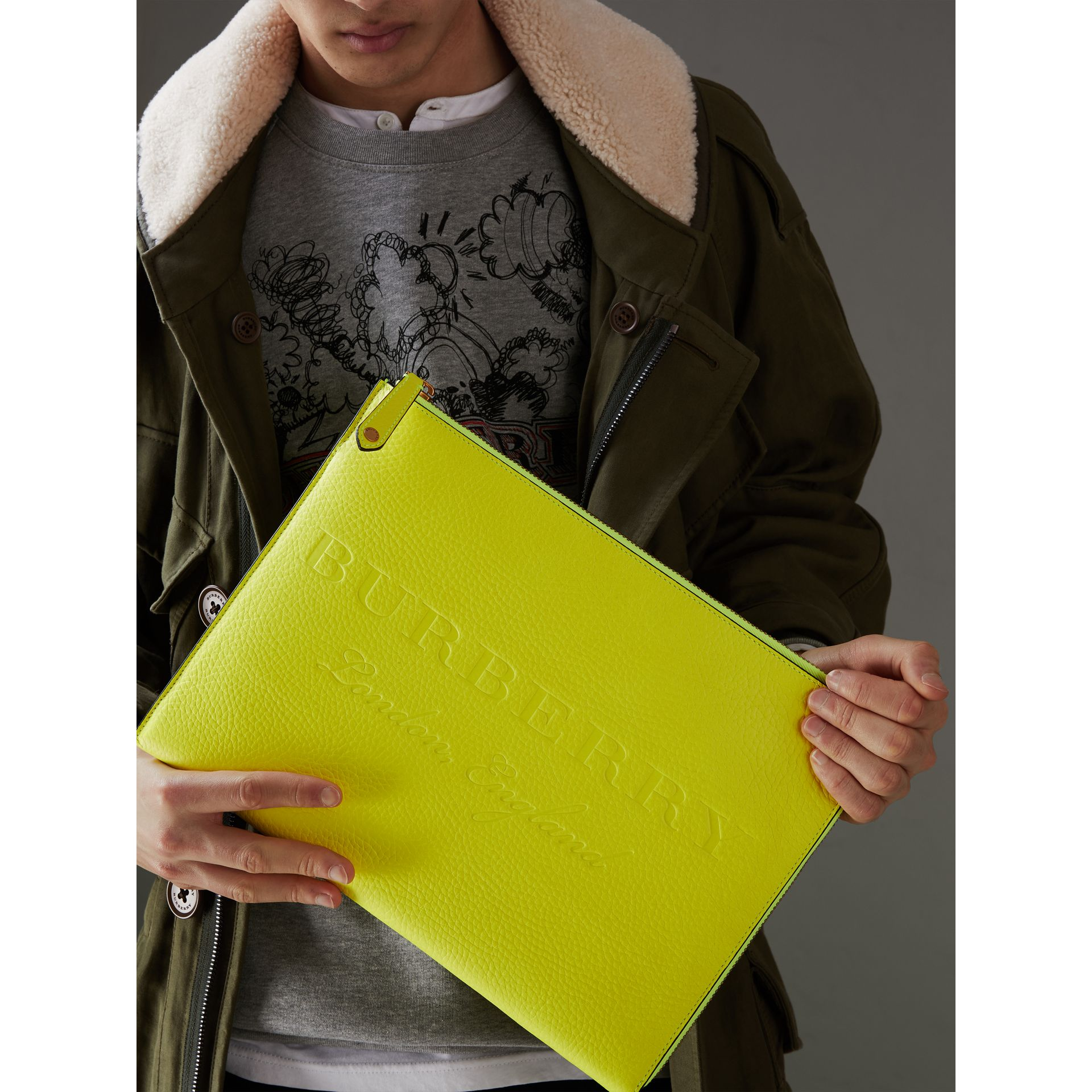 Embossed Leather Document Case in Neon Yellow - Men | Burberry Australia - gallery image 3
