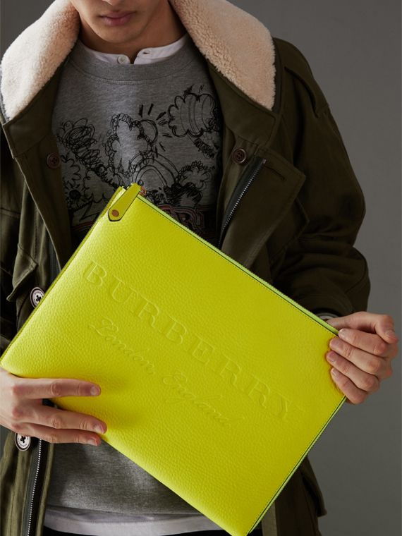 Embossed Leather Document Case in Neon Yellow - Men | Burberry Australia - cell image 3