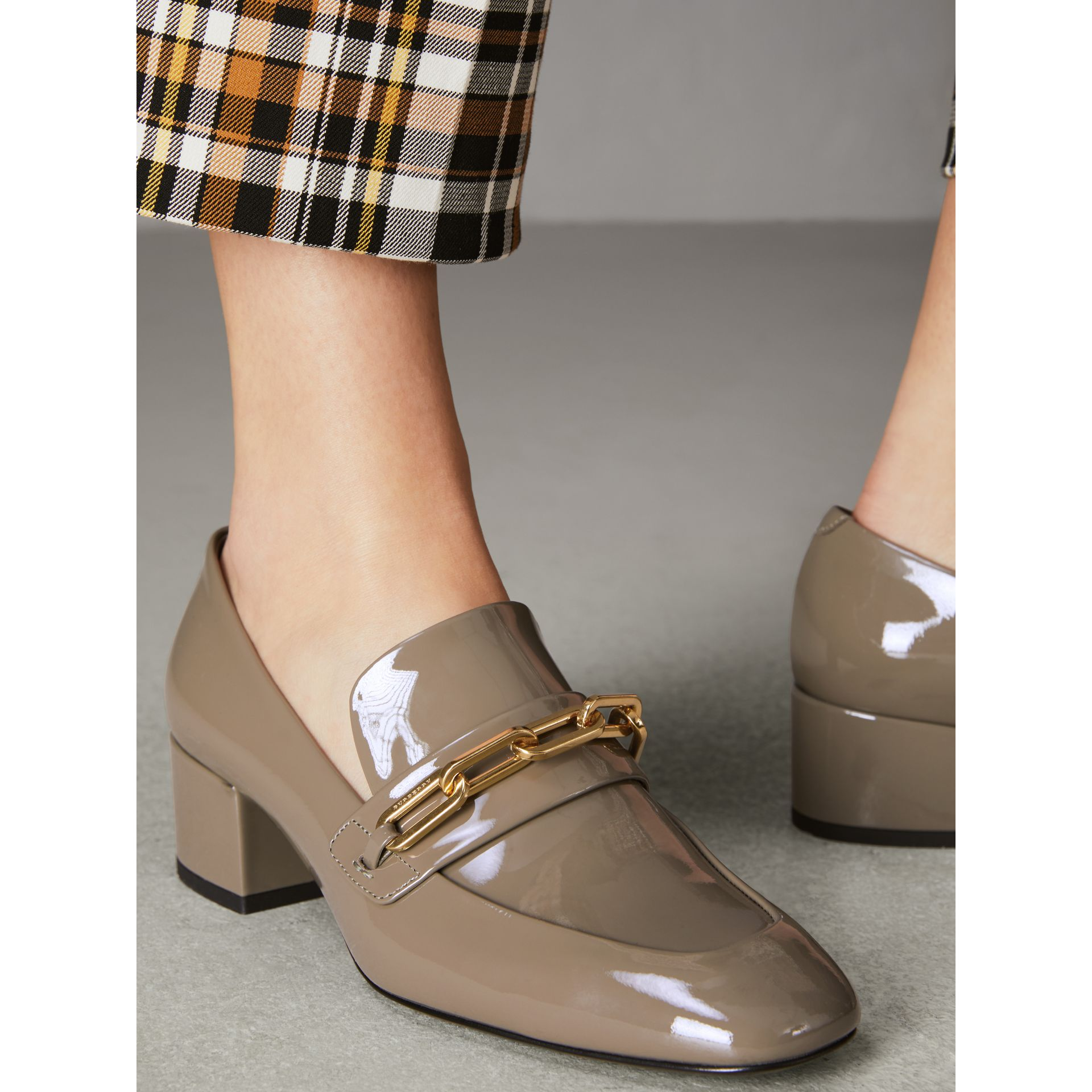 Link Detail Patent Leather Block-heel Loafers in Taupe Grey - Women | Burberry - gallery image 2