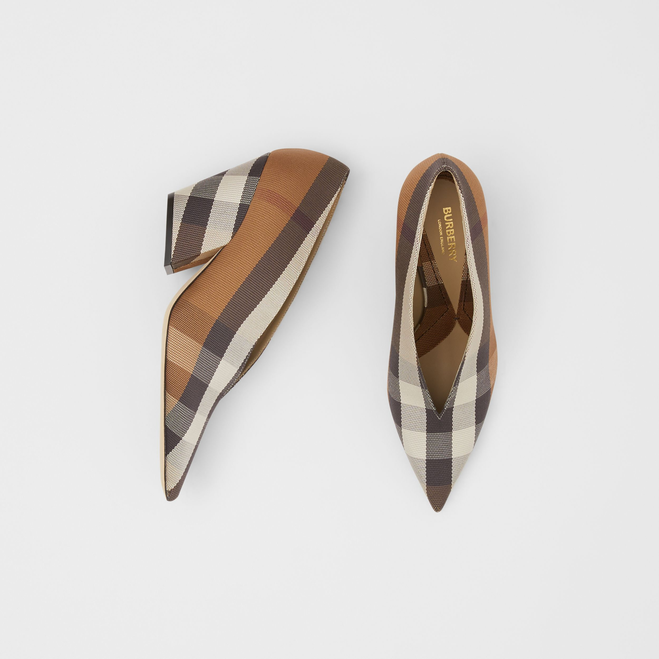 Check Technical Cotton Pumps in Birch Brown - Women | Burberry - 1