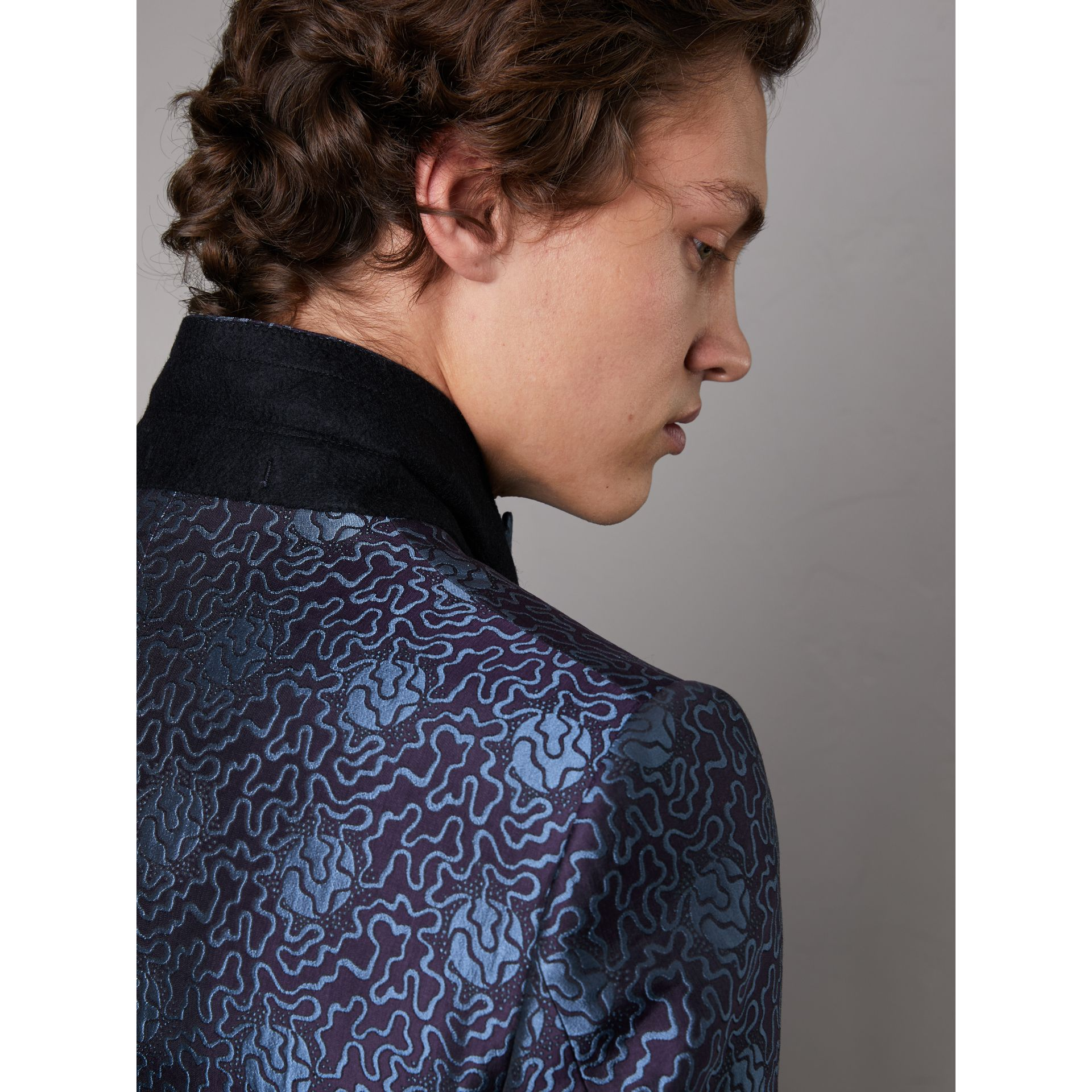 Slim Fit Swirl Silk Cotton Jacquard Evening Jacket in Steel Blue - Men | Burberry United Kingdom - gallery image 5