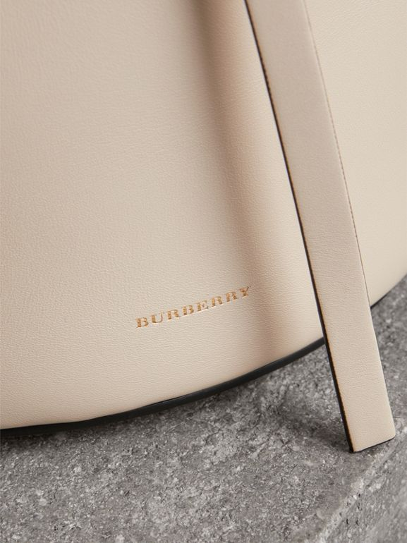 The Small Leather Bucket Bag in Limestone - Women | Burberry - cell image 1