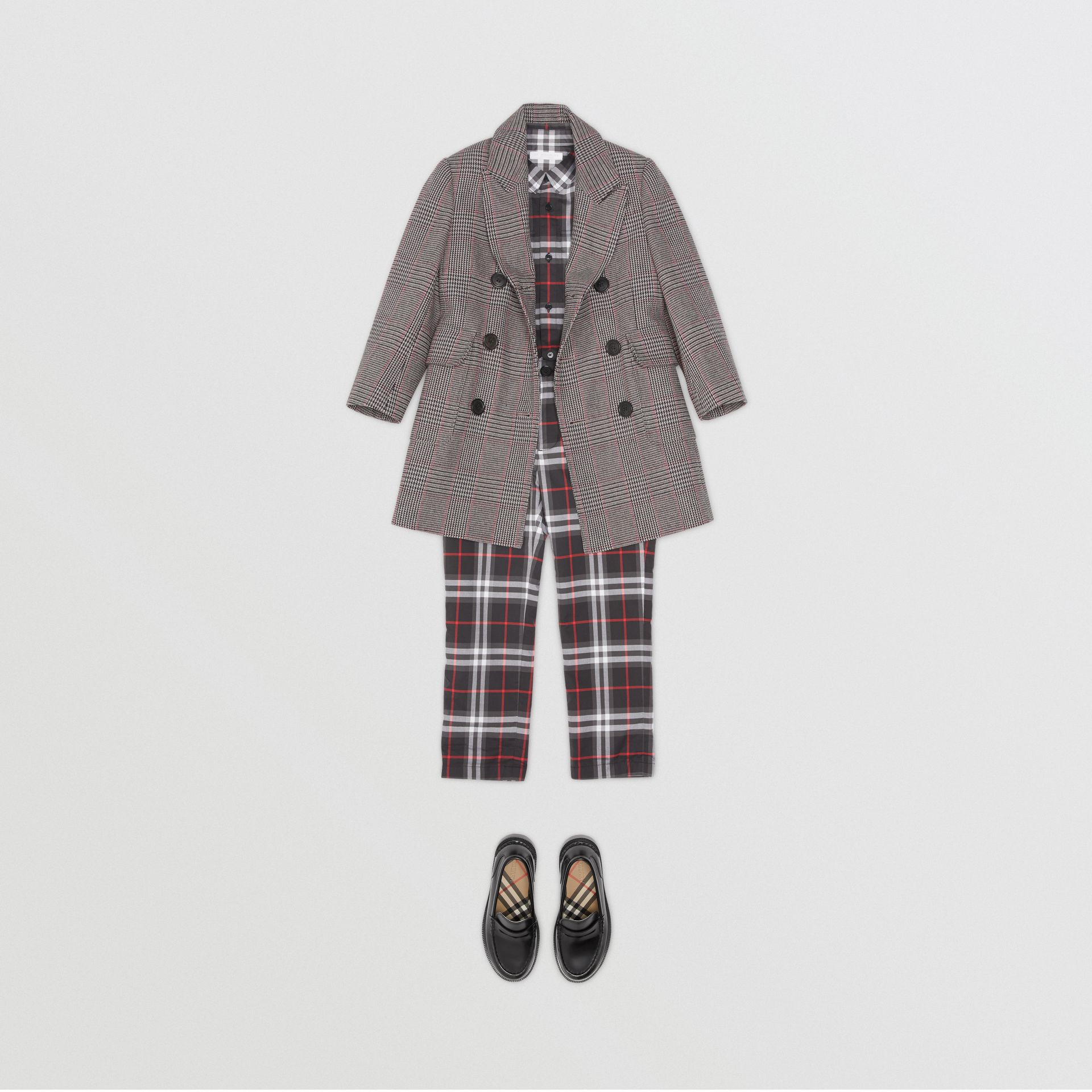 Prince of Wales Check Wool Cotton Blend Coat in Slate Blue Melange | Burberry - gallery image 2