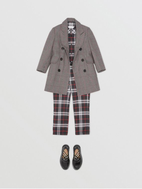 Prince of Wales Check Wool Cotton Blend Coat in Slate Blue Melange