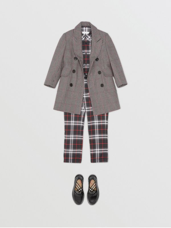 Prince of Wales Check Wool Cotton Blend Coat in Slate Blue Melange | Burberry Australia - cell image 2