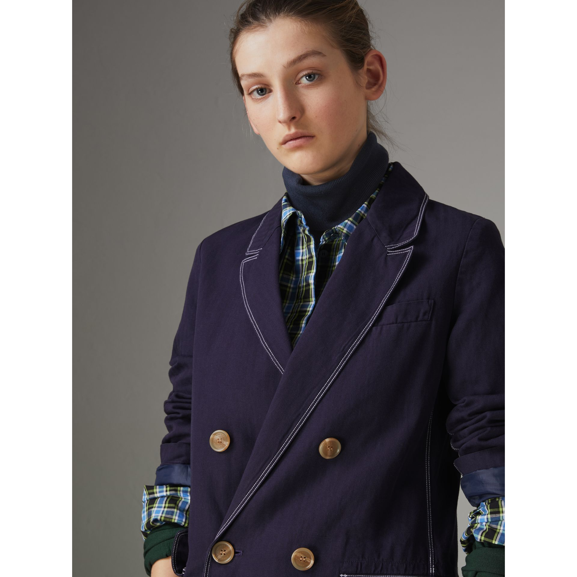 Topstitched Cotton Linen Double-breasted Coat in Deep Indigo - Women | Burberry Singapore - gallery image 1