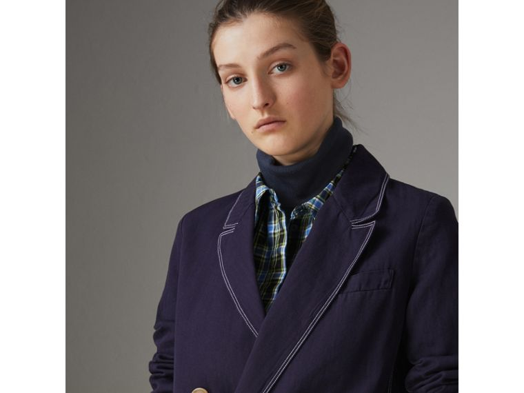Topstitched Cotton Linen Double-breasted Coat in Deep Indigo - Women | Burberry Singapore - cell image 1