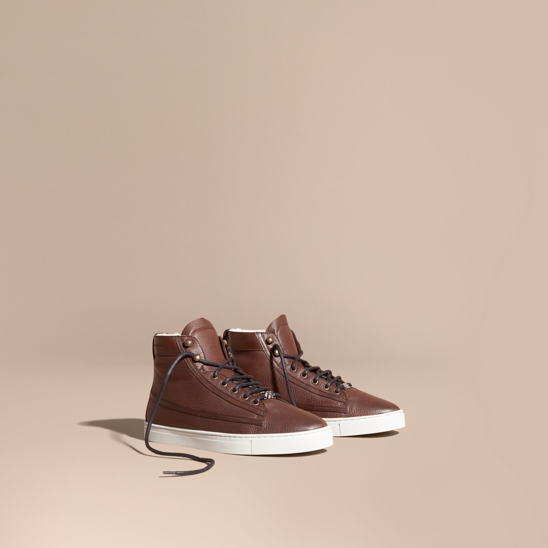 Bitter chocolate Shearling Lined Leather High-top Trainers - gallery image 1