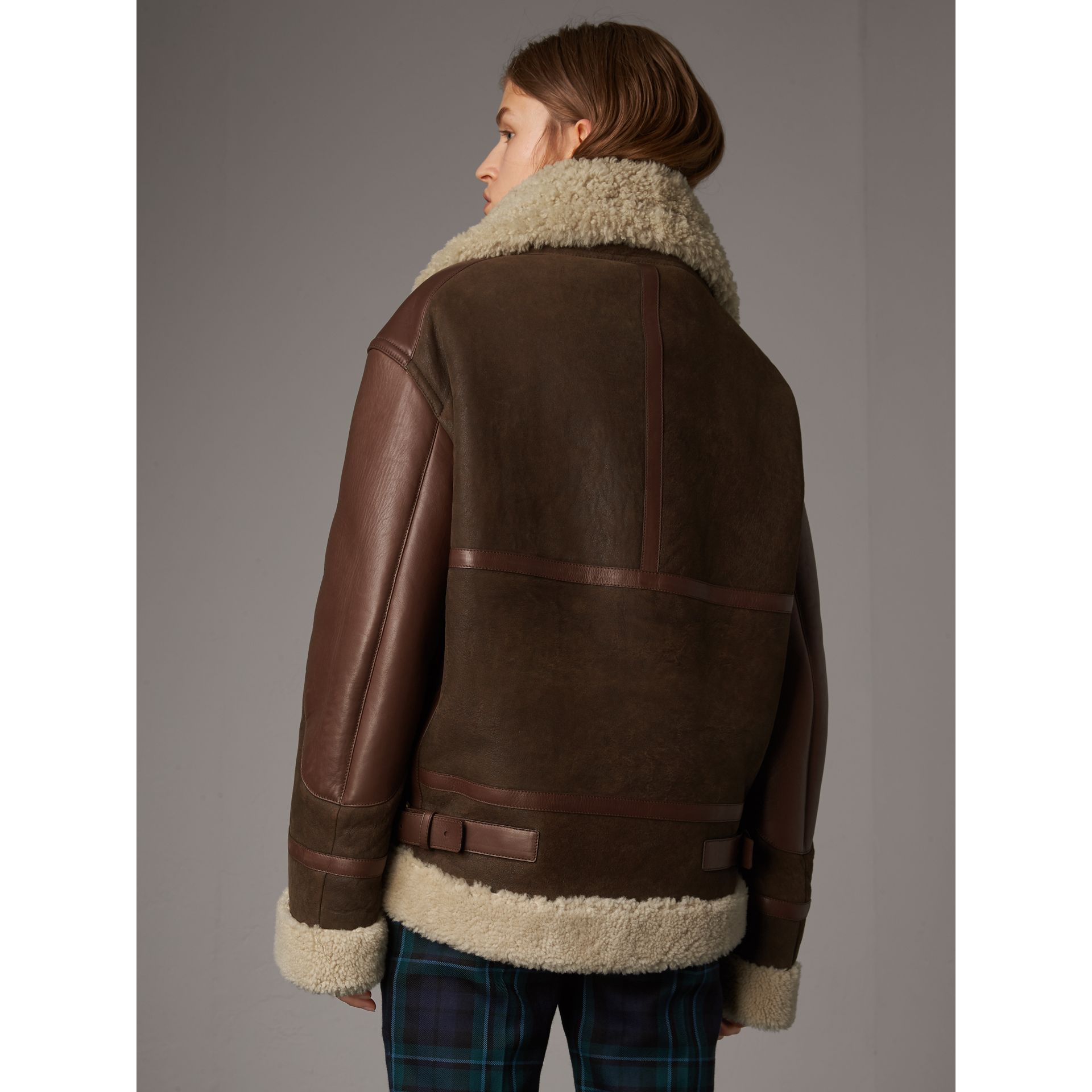 Lambskin Panelled Shearling Aviator Jacket in Dark Chocolate - Women | Burberry - gallery image 2