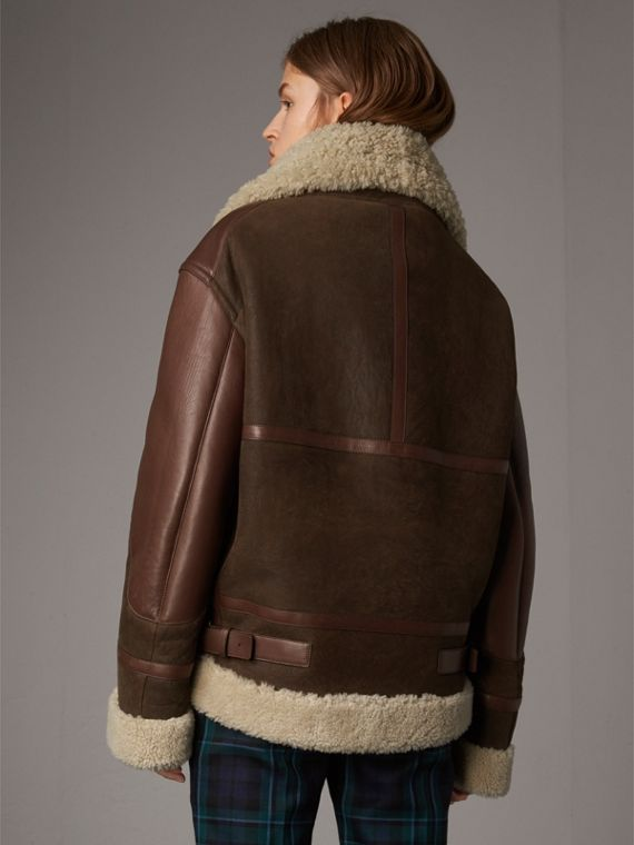 Lambskin Panelled Shearling Aviator Jacket in Dark Chocolate - Women | Burberry - cell image 2