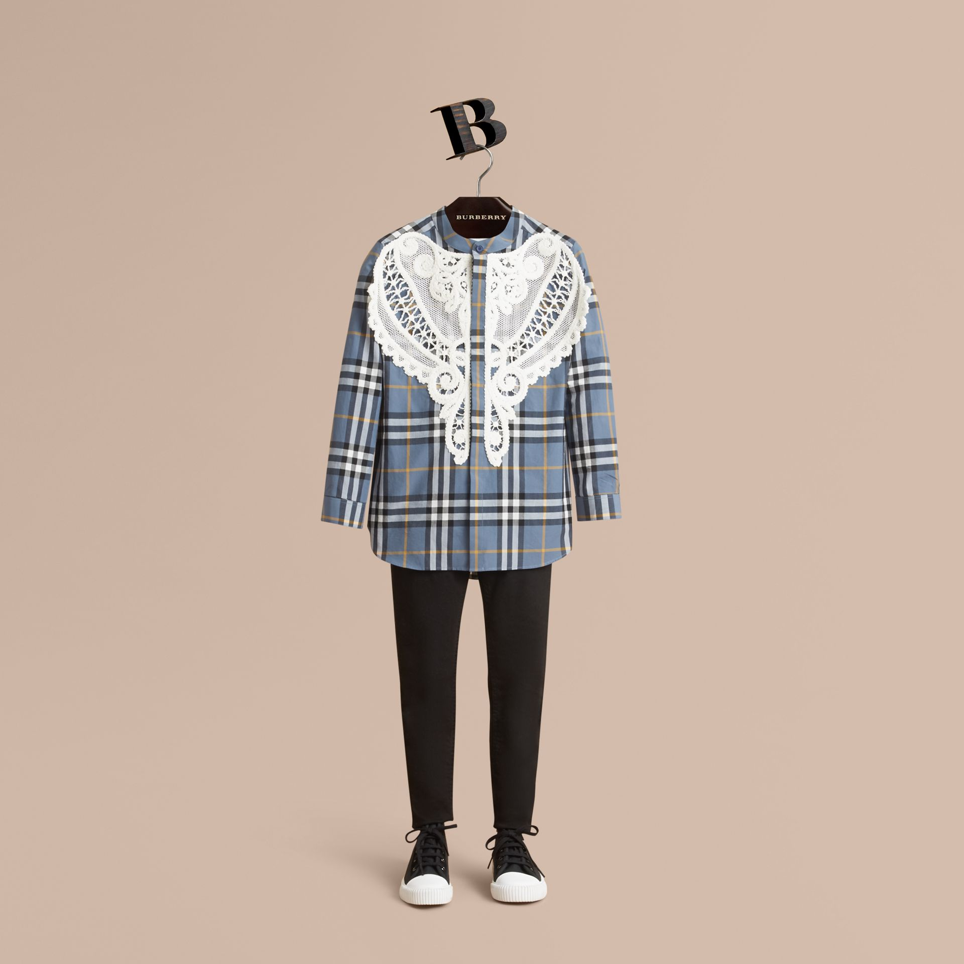 Unisex Lace Appliqué Check Cotton Shirt in Pewter Blue - Boy | Burberry - gallery image 1