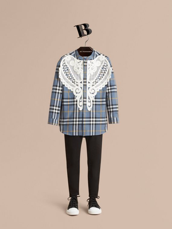 Unisex Lace Appliqué Check Cotton Shirt - Boy | Burberry