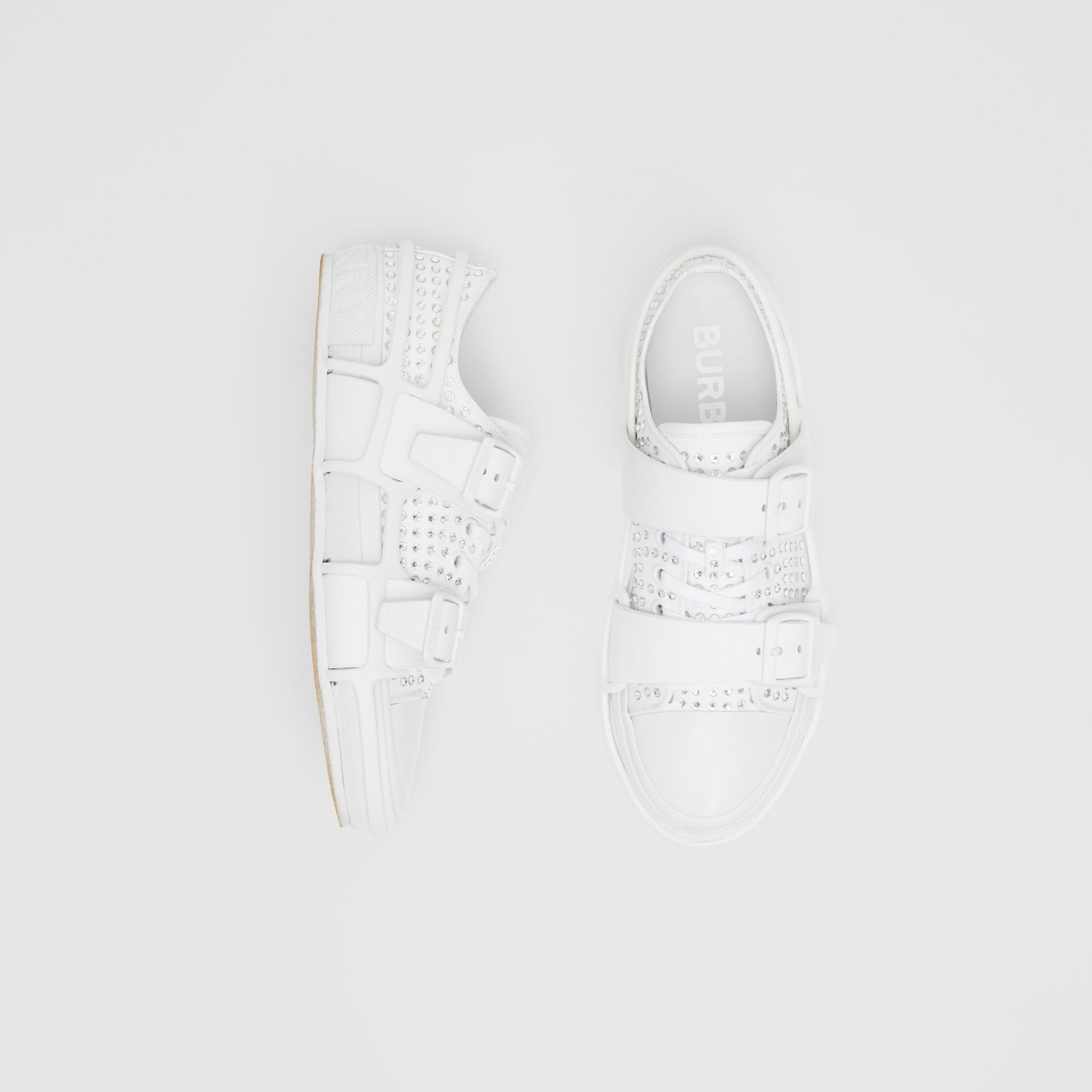 Embellished Cotton and Leather Webb Sneakers in White | Burberry United States - gallery image 0