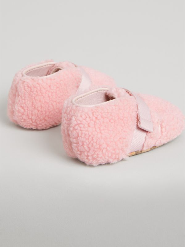 Faux Fur and Vintage Check Booties in Ice Pink - Children | Burberry - cell image 2