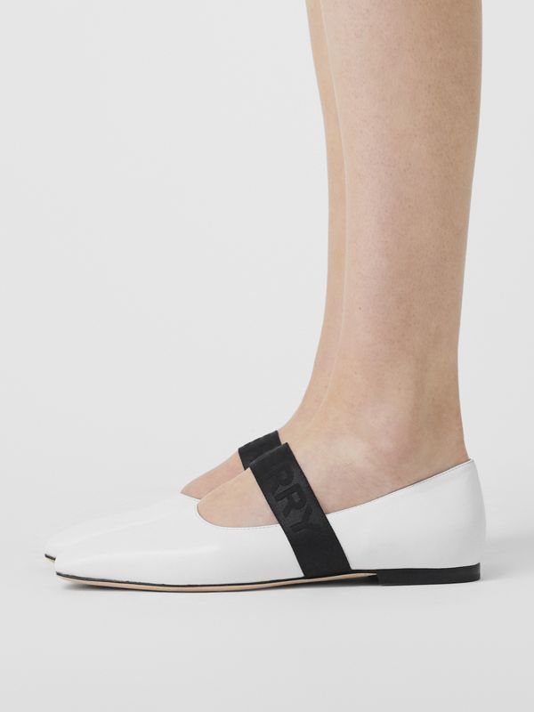 Logo Detail Lambskin Flats in White - Women | Burberry Australia - cell image 2