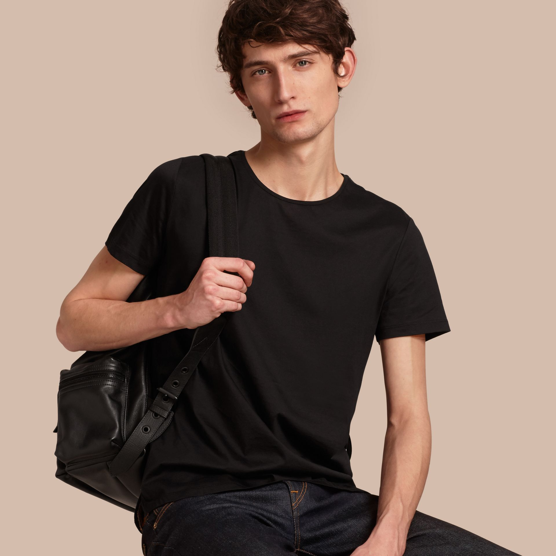 Crew Neck Cotton T-shirt in Black - Men | Burberry - gallery image 1