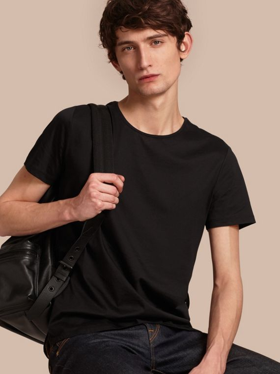 Crew Neck Cotton T-shirt Black