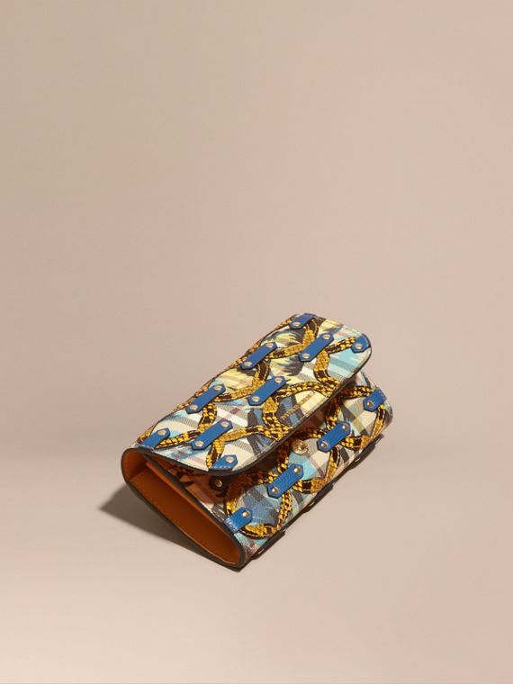 Snakeskin Appliqué Peony Rose Print Haymarket Check Continental Wallet Larch Yellow