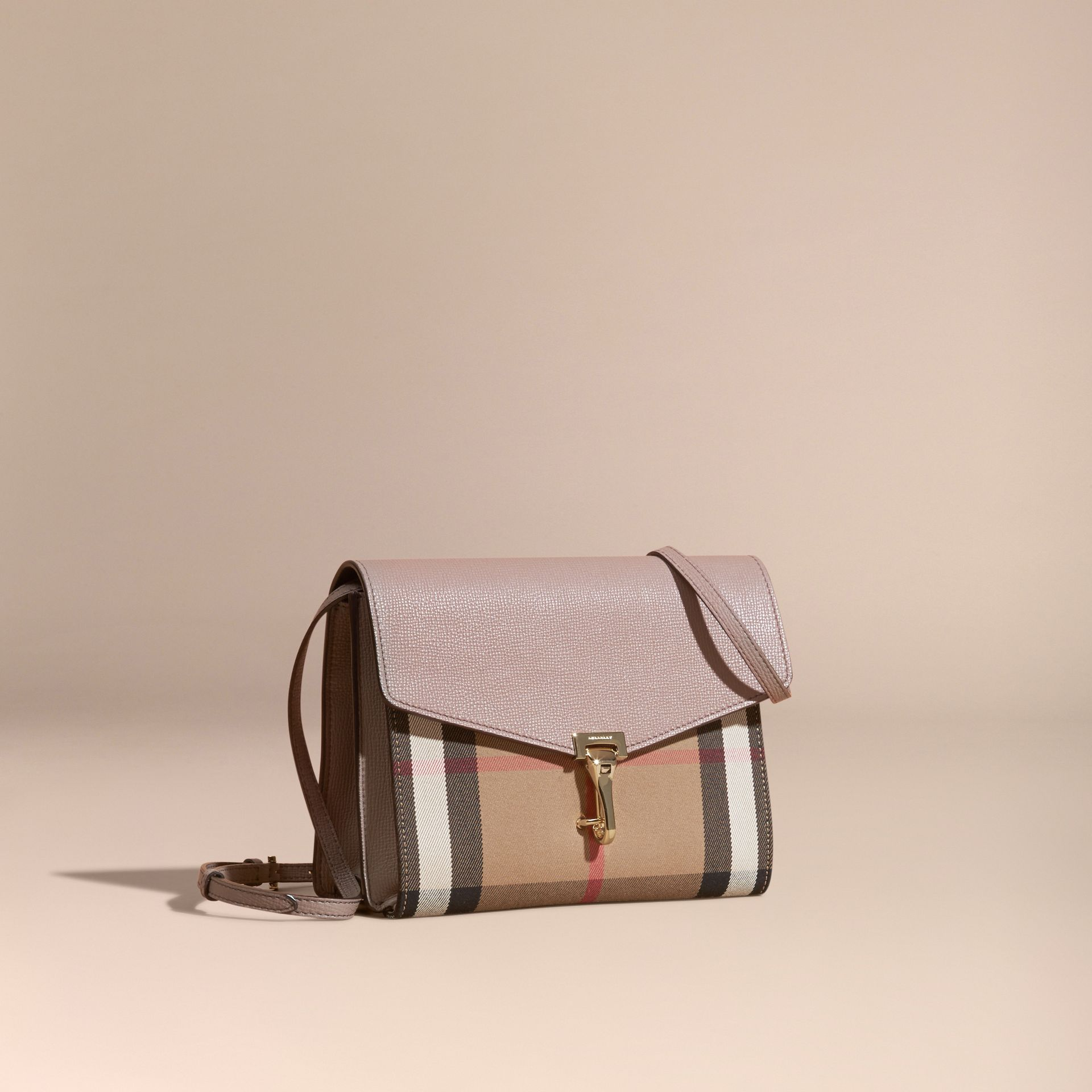 Thistle grey Small Leather and House Check Crossbody Bag Thistle Grey - gallery image 1